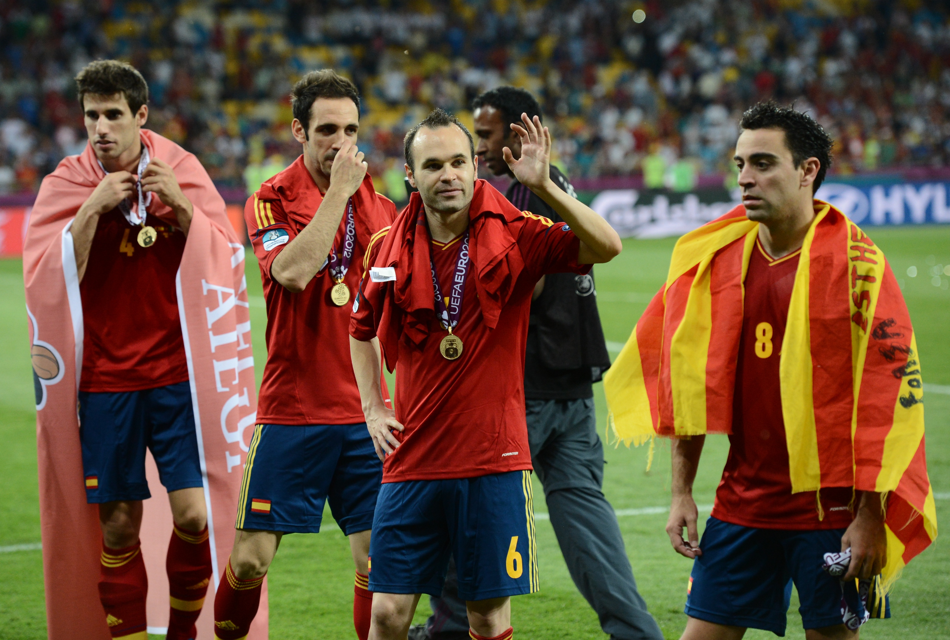 Spanish players (From L) Javi Martinez,